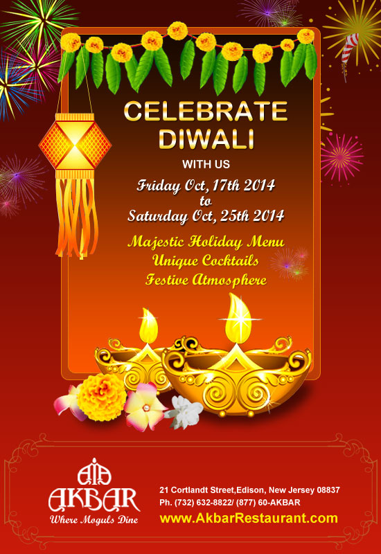 Celebrate diwali at akbar restaurant for Akbar cuisine of india coupon